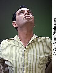 trendy man looking at sky - trendy man looking at the sky