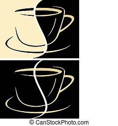 Cup of coffee latte - vector illustration. Milk coffee,...