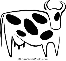 Cow - Stylized vector image of cow. Black and white icon.