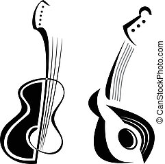 Guitar - Two guitars - stylized black white vector image of...