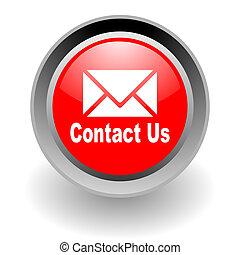 contato, nós, aço, glosssy, ícone