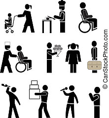 people pictograms - set of vector icons - people in action...