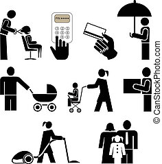 People icons - People in action - set of black vector icons...