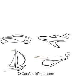 Airplane, helicopter, car and yacht - Set of vector icons -...