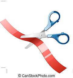 Scissors cutting red ribbon - Vector illustration of a...