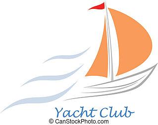 Yacht - sailing boat - Sailing boat. White sailboat on the...