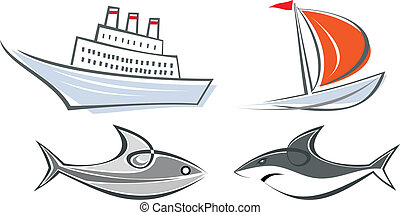 Set of vector marine icons - Set of maritime icons - ocean...