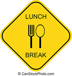 Lunch break - vector icon - Out to lunch - vector sign Black...