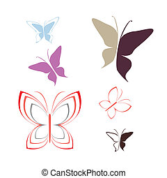 Butterfly - vector outline icons - Butterfly - isolated...