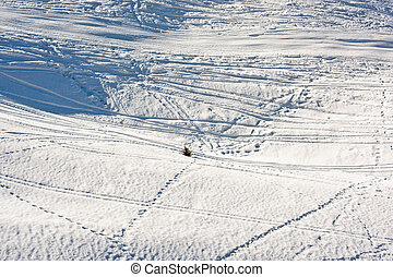 vast winter landscape with tracks