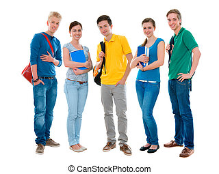 students - Happy smiling students standing together....
