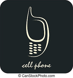 Cell phone - Stylized vector image of mobile phone on black...