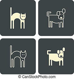 Cat and dog - vector icons, symbols - Cat and dog kitten and...