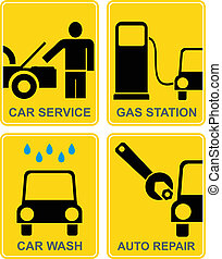 Car service, fuel station, auto rep - Auto service - set of...