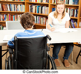 Disabled Student in Library - Disabled student in the school...