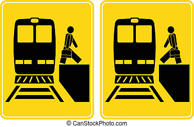 Signs - arrival, departure - Person gets out of the train,...