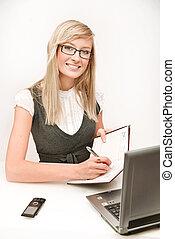 Beautiful businesswoman thinking