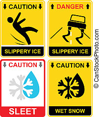 Slippery ice, sleet - sign - Warning signs - Slippery ice,...
