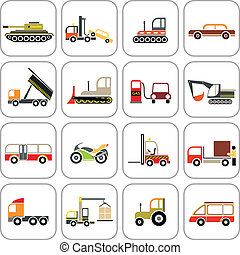 Transport icons - Vehicles - set of color vector images...