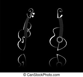 Guitar and Violin - Stylized illustration of guitar and...