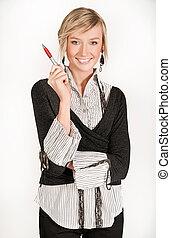 jovem, secretária, segurando, caneta
