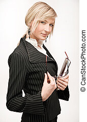 Young blonde businesswoman