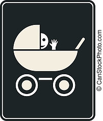 Pram - vector sign, icon - Smiling baby in the pram