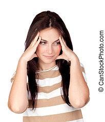 Worried girl with headache
