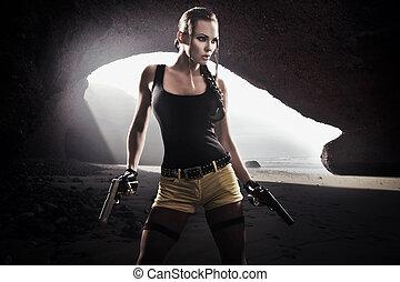 jovem, atlético, mulher, arma