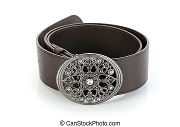 Female belt with flower shaped buckle