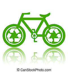 Green Bicycle - Bicycle with recycle symbol on wheels...