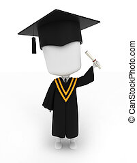 Man Raising His Diploma - 3D Illustration of a Man Proudly...