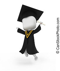 Graduate Jumping Happily - 3D Illustration of a Graduate...