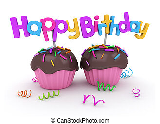 Birthday Cupcakes - 3D Illustration of Twin Cupcakes with...