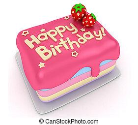 Birthday Cake - 3D Illustration of a Birthday Cake