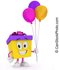 Gift Carrying Balloons - 3D Illustration of a Gift Character...