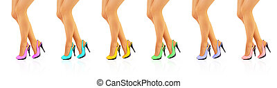 Beautiful women legs in color high heels - Collage -...