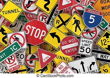 American Traffic Signs - Many american traffic signs mixed...