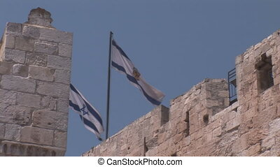 three flags on the Tower of David
