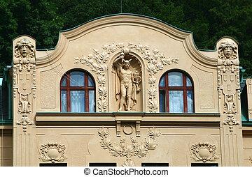 Art Nouveau facade Carlsbad - an Art Nouveau facade in...