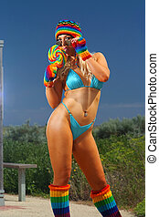 Sexy bikini girl with colorful loll