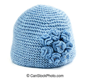blue knitted hat isolated on white background
