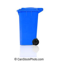 empty blue recycling bin