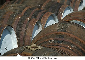 whisky barrels in a distillery in scotland