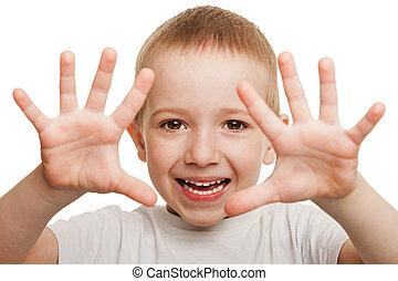 Smiling child gesturing - Little gesturing child boy...