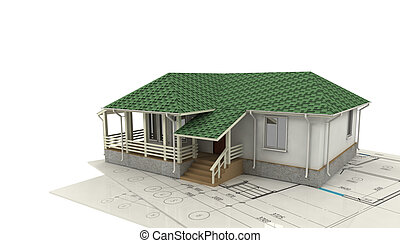 drawing of the house and its 3D model
