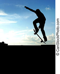 Skateboarder - Skater jump. Element of design.