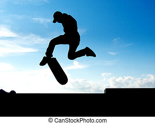 Stunt of skater - Skater jump. Element of design.