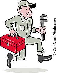 plombier, singe, clé, boîte outils