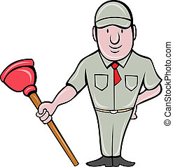 plumber with plunger standing front - illustration of a...